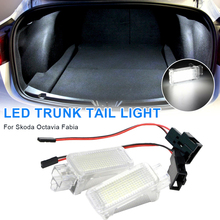SUHU 2Pcs LED 6000K Luggage Trunk Lamp Interior Dome Light for Skoda Octavia Fabia Superb Roomster Kodiaq Yeti Compartment Lamps