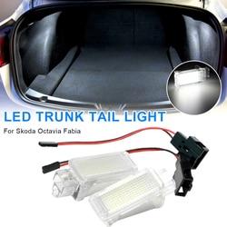 SUHU 2Pcs LED 6000K Luggage Trunk Lamp Interior Dome Light for Skoda Octavia Fabia Superb Roomster Kodiaq Yeti Compartment Lamps