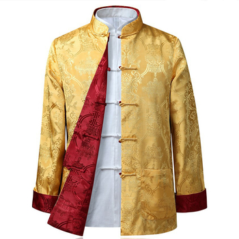 Tang suit Chinese Shirt Style Jacket Collar Traditional Clothing for Men Silk Kungfu Cheongsam Top Hanfu Male Both Sides