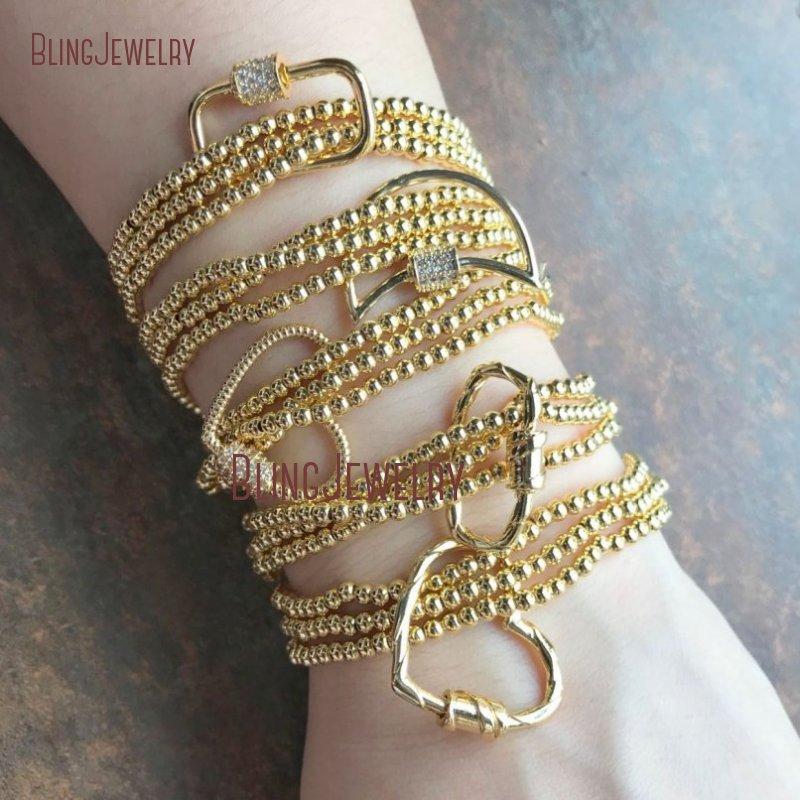 14k Charm Bracelet Evil Eye Charm 14K Beaded Bracelet Set,Bracelets with Carabiner Lock,14k Beaded Ball Bracelet,Gold Beaded Bracelet