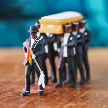1/18 Simulation Ghana Funeral Coffin Dancing Pallbearer Team Model Exquisite Workmanship Action Figure Car Decor Collect Toy image