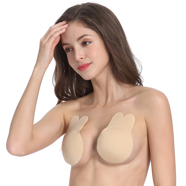 Women Breast Petals Cute Rabbit Bra Nipple Covers Push Up Invisible Adhesive Fashion Bras Top Reusable Breast Cover Lift Tape 1