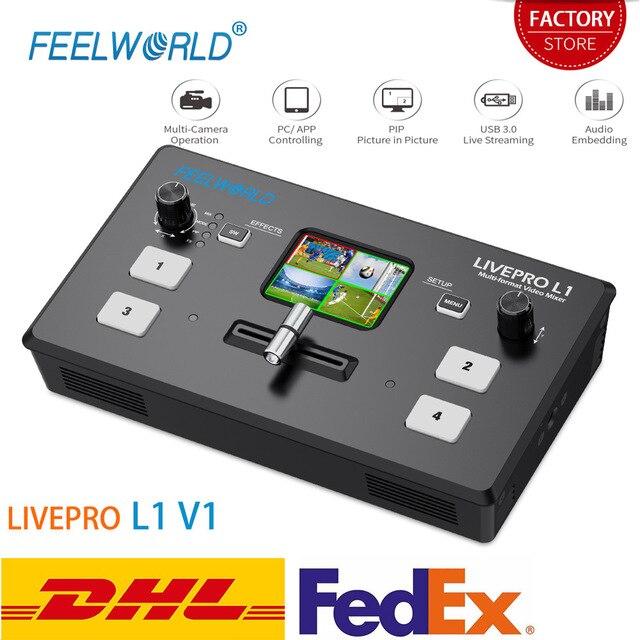FEELWORLD محول فيديو LIVEPRO L1 V1 ، محول فيديو مباشر 4xHDMI ، Hdmi ، USB3.0 ، تنسيق متعدد ، استوديو ، معاينة ، كاميرا Youtube