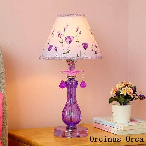 Romantic Garden Purple Glass Table Lamp Girls Bedroom Children's Room Princess Room Bedside Lamp Korean Flower Table Lamp