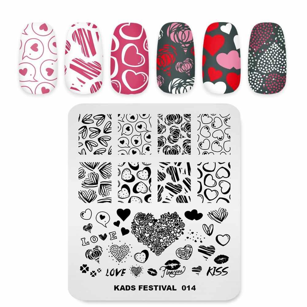 แผ่นปั๊มเล็บวันวาเลนไทน์ Love LIPS รูปแบบเล็บแม่แบบภาพเล็บ Art เครื่องมือทำเล็บแผ่น