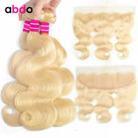 abdo Blonde Bundles With 13*4 Ear to Ear Lace Frontal Closure Brazilian Non Remy Hair Body Wave 613 Color Bundles With Frontal