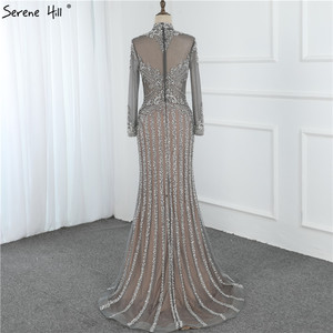 Image 5 - מוסלמי אפור יוקרה ארוך שרוולים ערב שמלות 2019 בת ים יהלומי פאייטים הנוצצת ערב שמלת Serene היל DLA70199