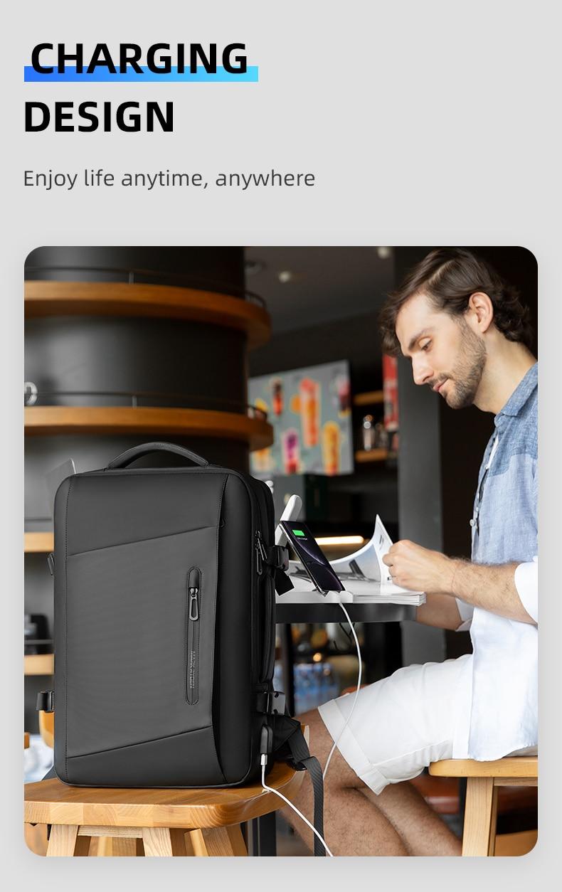 Mark Ryden MR9299 Expandable 45cmx30cmx(17/18/27)cm (1.15/1.5/1.55)kg 20-35Liter Oxford 17 Inch Laptop Backpack W/ Raincoat