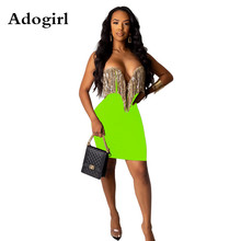 Adogirl Autumn Women Tassel Stapless Sequins Splicing Plunging V-neck Bodycon Midi Dress Lady Sexy Eevning Party Dresses Vestido недорого