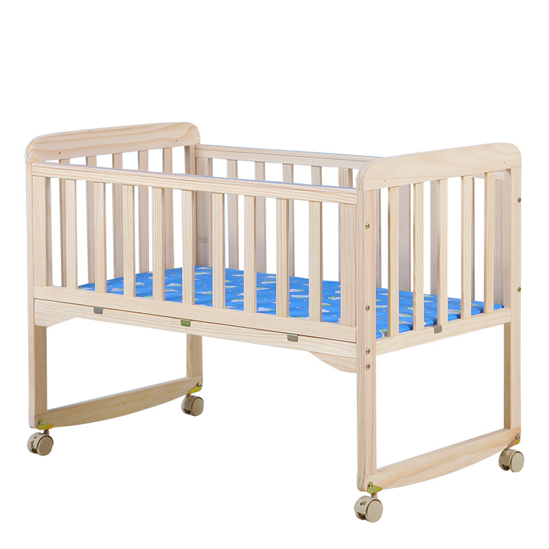 5 In1 Baby Bedwith Bed Cover  Solid Wood Unpainted Eco-friendly Baby  Rocking Bed Variable Desk Baby Cradle Bed Baby Cribs