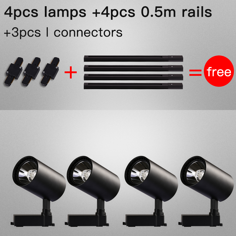 Whole Set Led Track Lights 12 20 30 40W COB Track Lamps for Clothing Store Rail Aluminum Spotlights for Shop Home Track Lighting