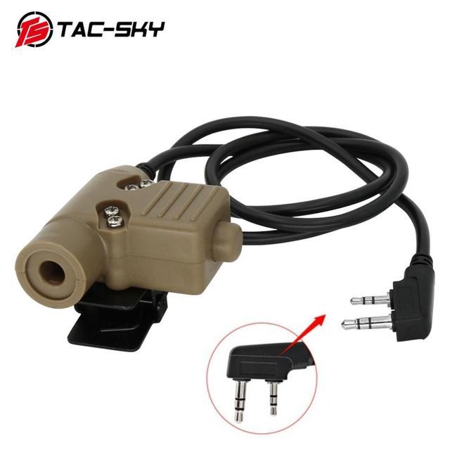 TAC שמיים PTT U94 חדש תקע טקטי PTT צבאי אוזניות מתאם מכשיר קשר PTT ציד ספורט ירי טקטי אוזניות u94ptt