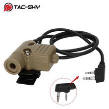 Tac Sky Ptt U94 Nieuwe Plug Tactical Ptt Militaire Headset Adapter Walkie Talkie Ptt Jacht Sport Schieten Tactical Headset u94ptt