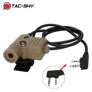Image 1 - Tac Sky Ptt U94 Nieuwe Plug Tactical Ptt Militaire Headset Adapter Walkie Talkie Ptt Jacht Sport Schieten Tactical Headset u94ptt