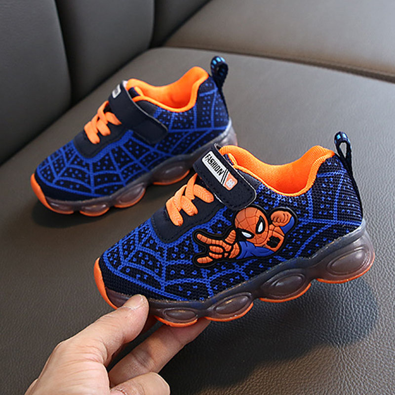 Spring Children Luminous Sports Shoes Boys Led Light Running Shoes Girls Cute Cartoon Sneakers Baby Flashing Cool Shoes