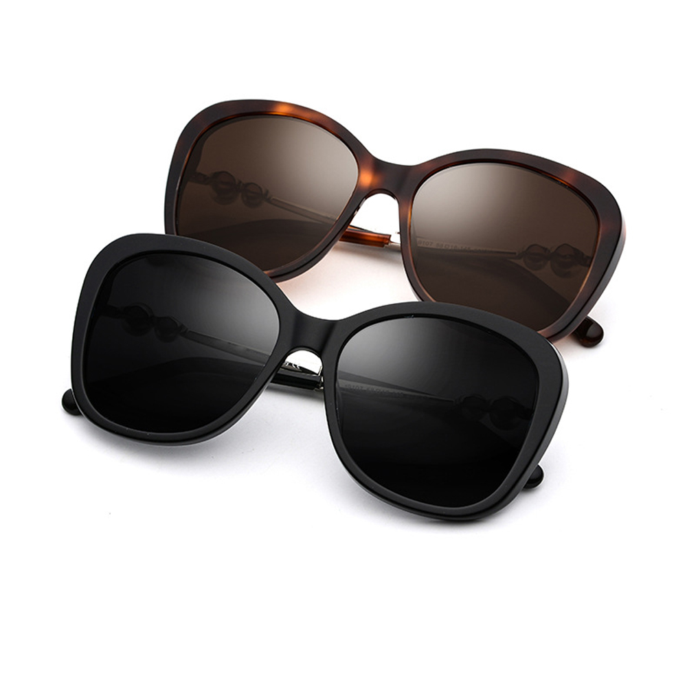 Fashion Women Polarized Sunglasses 2 Colors Black/Brown UV400 Driving Glasses For women With Pearl 5