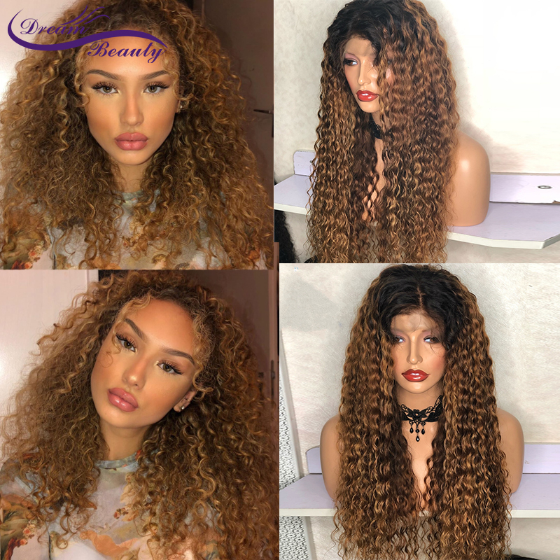 Ombre Color Lace Front Wig With Baby Hair 13x4 Brazilian Curly Human Hair Wigs 180% Remy Hair Glueless Lace Wig Dream Beauty