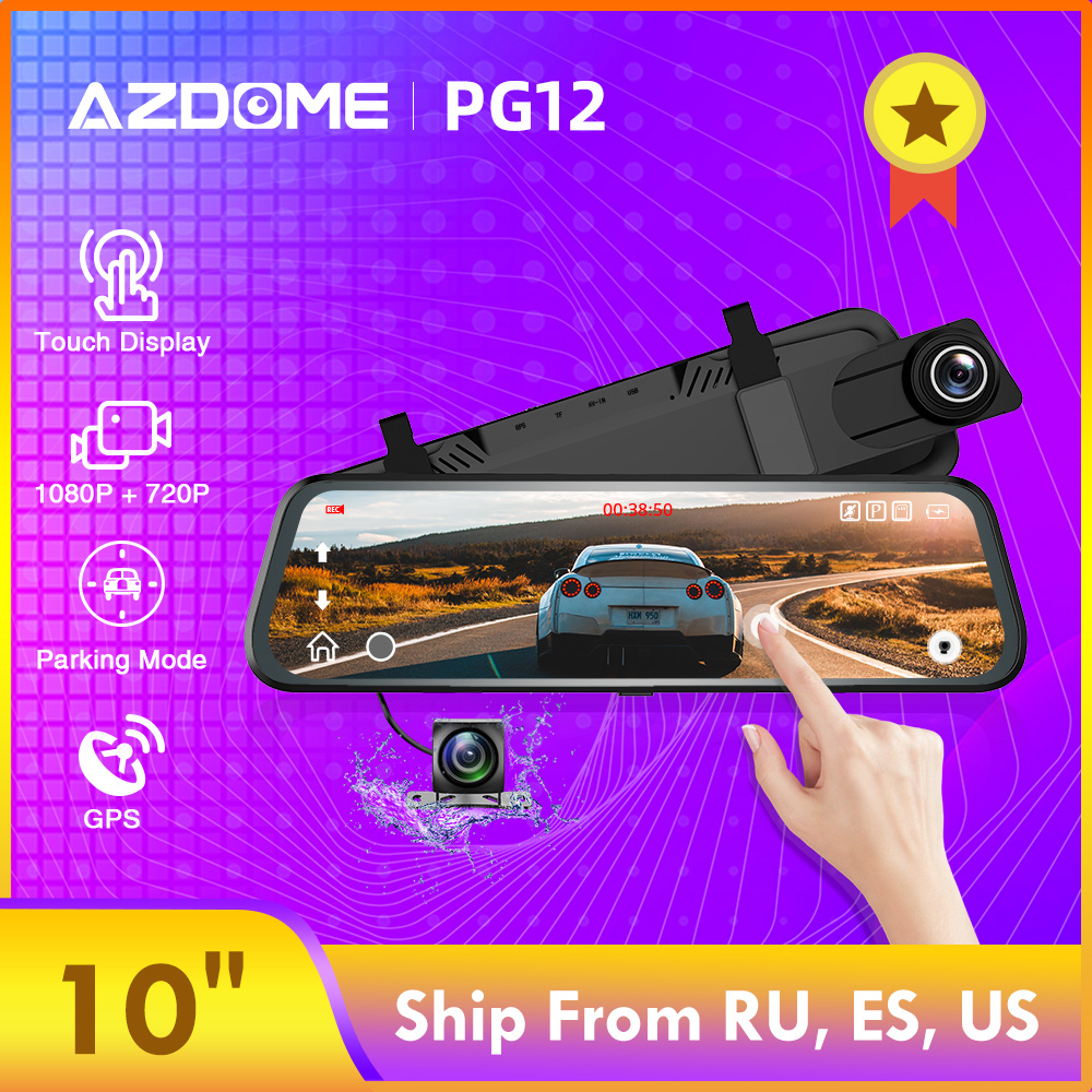"AZDOME 10"" IPS FHD Car DVR PG12 Touch Screen Mirror Recorder Stream Media Loop Recording Dash Camera 1080P Rearview GPS Camera image"