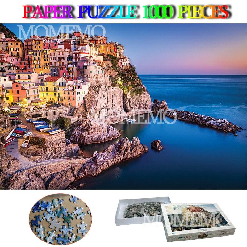 Manarola 1000 pièces paysage Puzzle italie célèbre paysage papier Puzzles jouets 1000 pièces adultes enfants bricolage assembler Puzzle