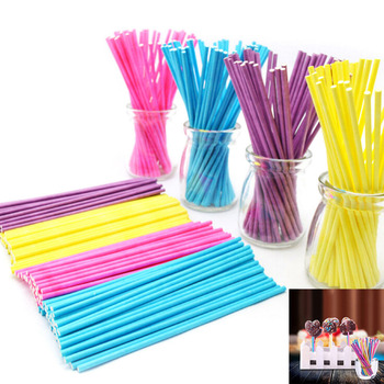 100 Pcs/lot Colorful Lollipop Stick 10CM Papen Cake Pop Sticks for Lollypop Lollipop Candy Chocolate Sugar Cudgel Pole Handle image