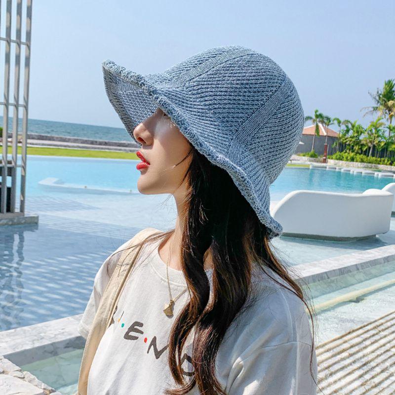 Женская летняя Плетеная соломенная шляпа от солнца, карамельный цвет, волнистая пляжная кепка с широкими полями, женская летняя Плетеная со...
