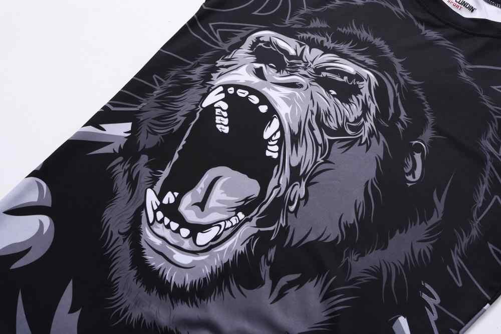 Novo conjunto de boxe compressão camisa calças 3d orangotango impressão rashguard kickboxing t-shirts apertadas calças muay thai mma luta