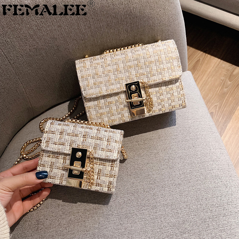 Mini Chains Weaving Crossbody Bag Women Winter Tweed Wool Handbag Designer Satchels Female Channels Lock Shoulder Messenger Bags