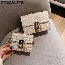 Mini Chains Weaving Crossbody Bag Women Winter Tweed Wool Ha