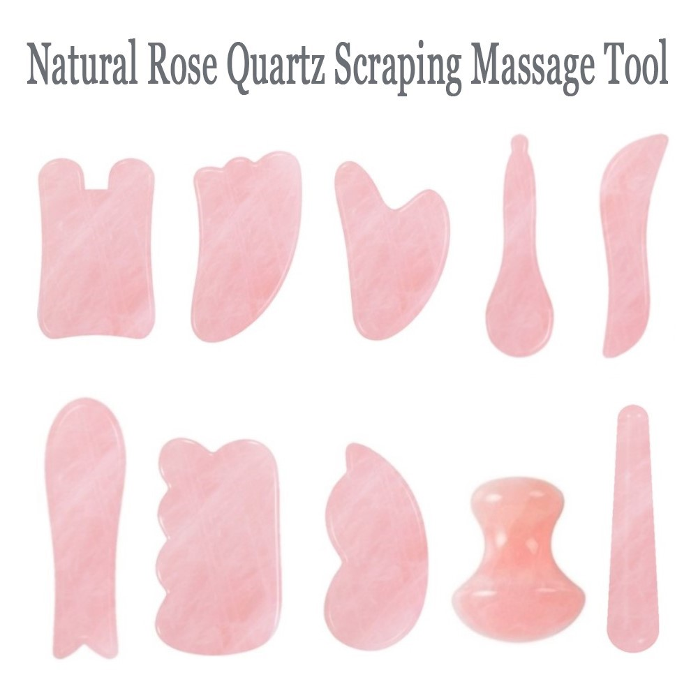 Natural Rose Quartz Jade Scraping Board Neck Head Massage Relaxation Health Care Tools Scraping Board Face Massager Wholesale