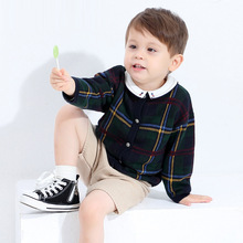 Cardigan-Coat Knitwear Children Sweater Long-Sleeve Pure-Cotton-Clothes Round-Neck Boy