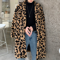 Streetwear Outerwear Lovers Overcoat Leopard Print Windbreaker Men Coat Vintage Leopard Faux Fur Loose Long Trench Jacket Male