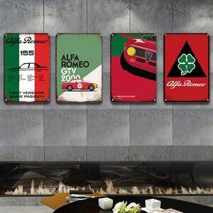 Vintage Alfa Romeo Metall Poster Zeichen Garage Home Dekorative Platte Persönlichkeit Wand Aufkleber Dekor Retro Parkplatz Metall Plaque