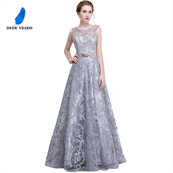 DEERVEADO Elegant Evening Dress Long A Line See Though Back Formal Dresses Women Occasion Party Dresses with Belt YS411