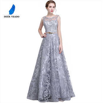 DEERVEADO Elegant Evening Dress Long A Line See Though Back Formal Dresses Women Occasion Party Dresses with Belt 2019 New YS411 - DISCOUNT ITEM  55% OFF All Category