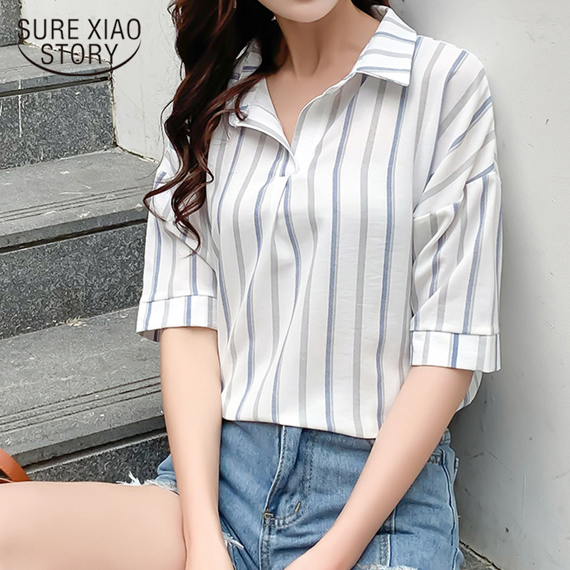 New Korean Ladies Blouse And Tops Summer Blouse Women Short Sleeve Casual Plus Size Loose Women Shirts Striped Pullover 8764 50