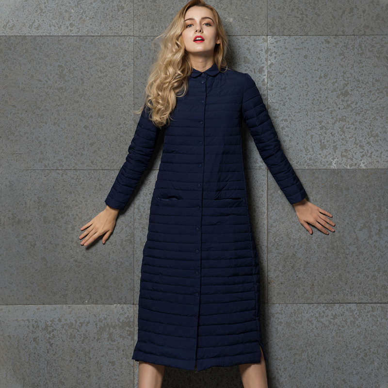 Image 4 - Удлиненное пальто, женский длинный серый жакет, серая верхняя  одежда, ультралегкое удлиненное пальто на осень зиму с воротником  стойкой, повседневное теплое пальто YD 13Пуховые пальто   -