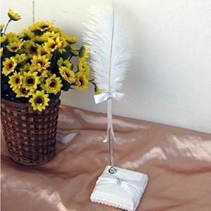 Свадебная Страусиная перьевая ручка с держателем для ручек (белая) A30