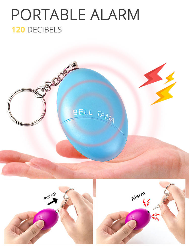 Self-Defense Alarm Keychain Protect Egg-Shape Scream Loud Girl Personal Safety Women Security
