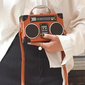 Image 1 - 2020 New black radio style pu leather fashion ladies clutch bag shoulder bag handbag female crossbody mini messenger bag purse