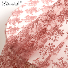 1Yard Small flower embroidery mesh lace fabric Soft yarn tulle Wedding dress clothing materials home decoration