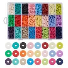 4800 ~ 5280 pièces/boîte 6mm Plat Rond Perles en Argile Polymère Puce Disque D'espacement Lâche la Main Heishi pour BIJOUX À BRICOLER SOI-MÊME La Fabrication De Bracelet