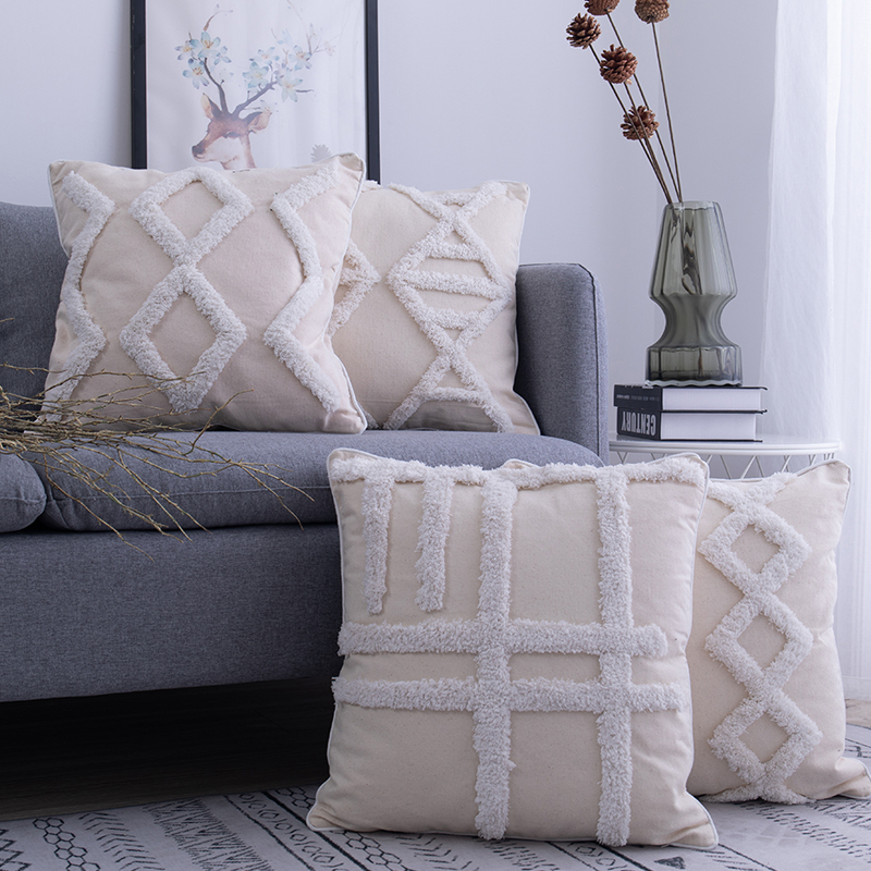 Moroccan Style Cushion Cover 45x 45cm Beige Pillowcase Diamond Fringed Square Pillow Cover Home Decoration