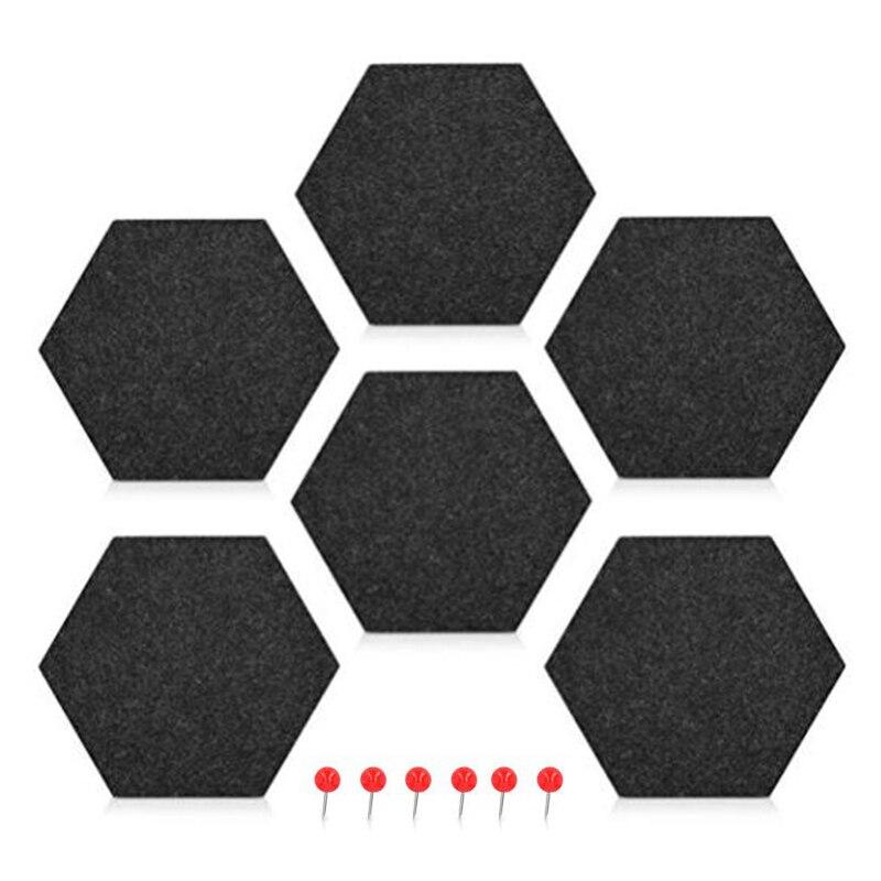 6 Pack Felt Memo Board Decorative Notice Board Hexagon Bulletin Board,Felt Cork Board Tiles,Pin Board Wall Decor For Photos