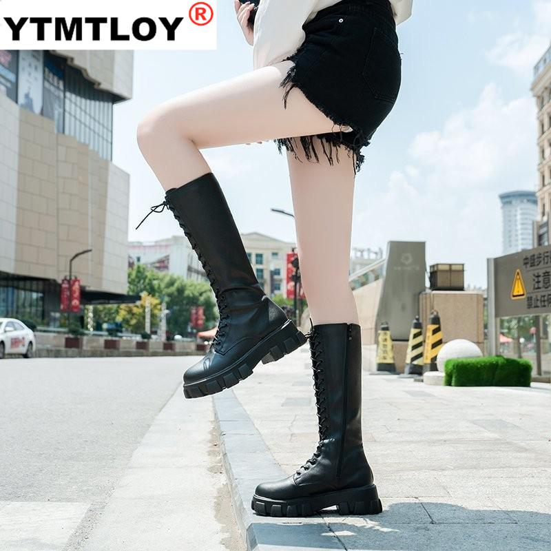 Fashion Women Cross Strap PU Leather Boots Autumn Winter Knee High Boots Ladies Thick Sole Platform Botas Mujer Mid calf White