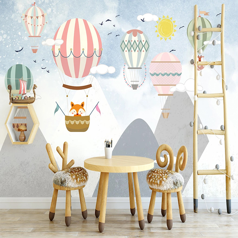 Custom Photo Wallpaper For Bedroom Walls Hand Painted Children Room Hot Air Balloon Mural Waterproof Canvas Painting Wallpaper