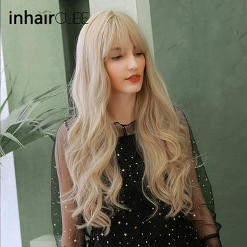 Inhaircube Light Blonde Water Wave Long Synthetic Wig With Bangs Natural Hair Midpart Real Scalp Mixed Color Free Gifts