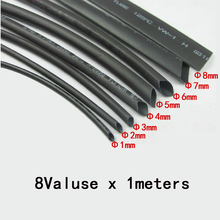 8 Meter/set 2:1 Heat Shrink Tube kit 1/2/3/4/5/6/8/10mm Black Heat Shrink Tubing Shrinkable Sleeving Wrap Diy Connector Wire kit футболка turbokolor pocket slim fit ss13 heather red m