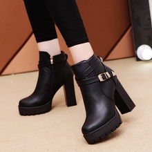2019 new top quality flock leather boots women high heels platform ankle boots for women round toe autumn winter shoes