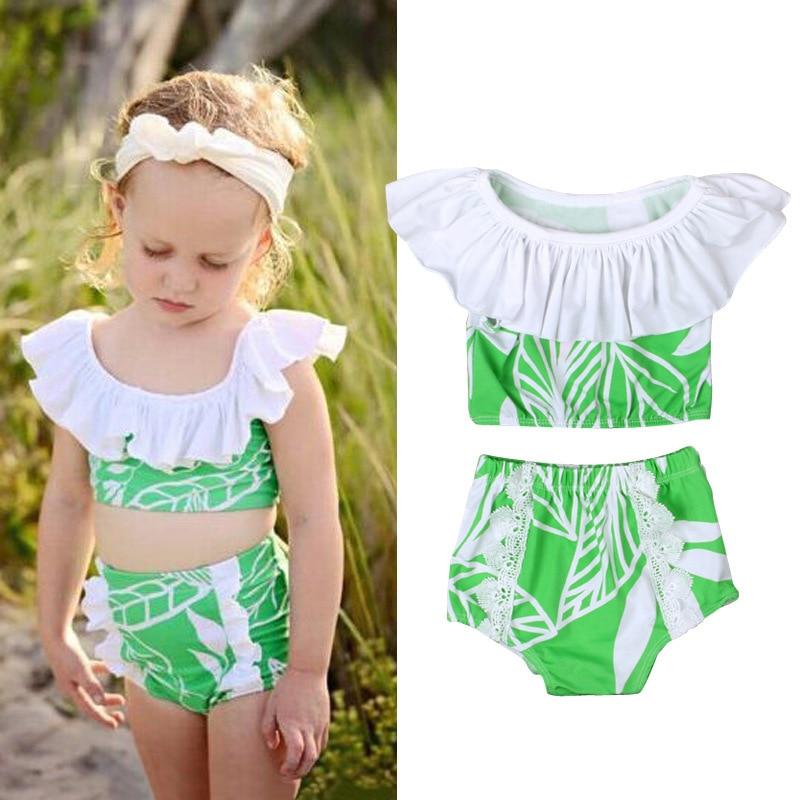 Children Summer Style Tour Bathing Suit GIRL'S Swimsuit Flounced Split Leaf Pattern Bathing Suit