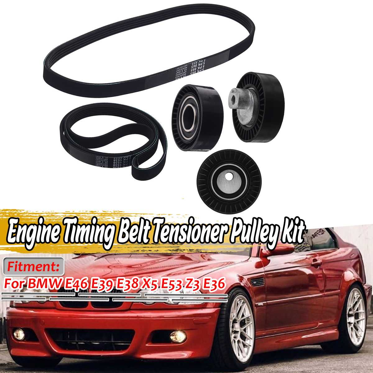 New <font><b>Car</b></font> Engine Timing Belt Tensioner <font><b>Pulley</b></font> Kit For BMW E46 E39 E38 X5 E53 Z3 E36 11281437475 11281706545 1706545 image